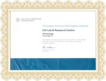 Citi Lab CAP (College of American Pathologist) Certificate