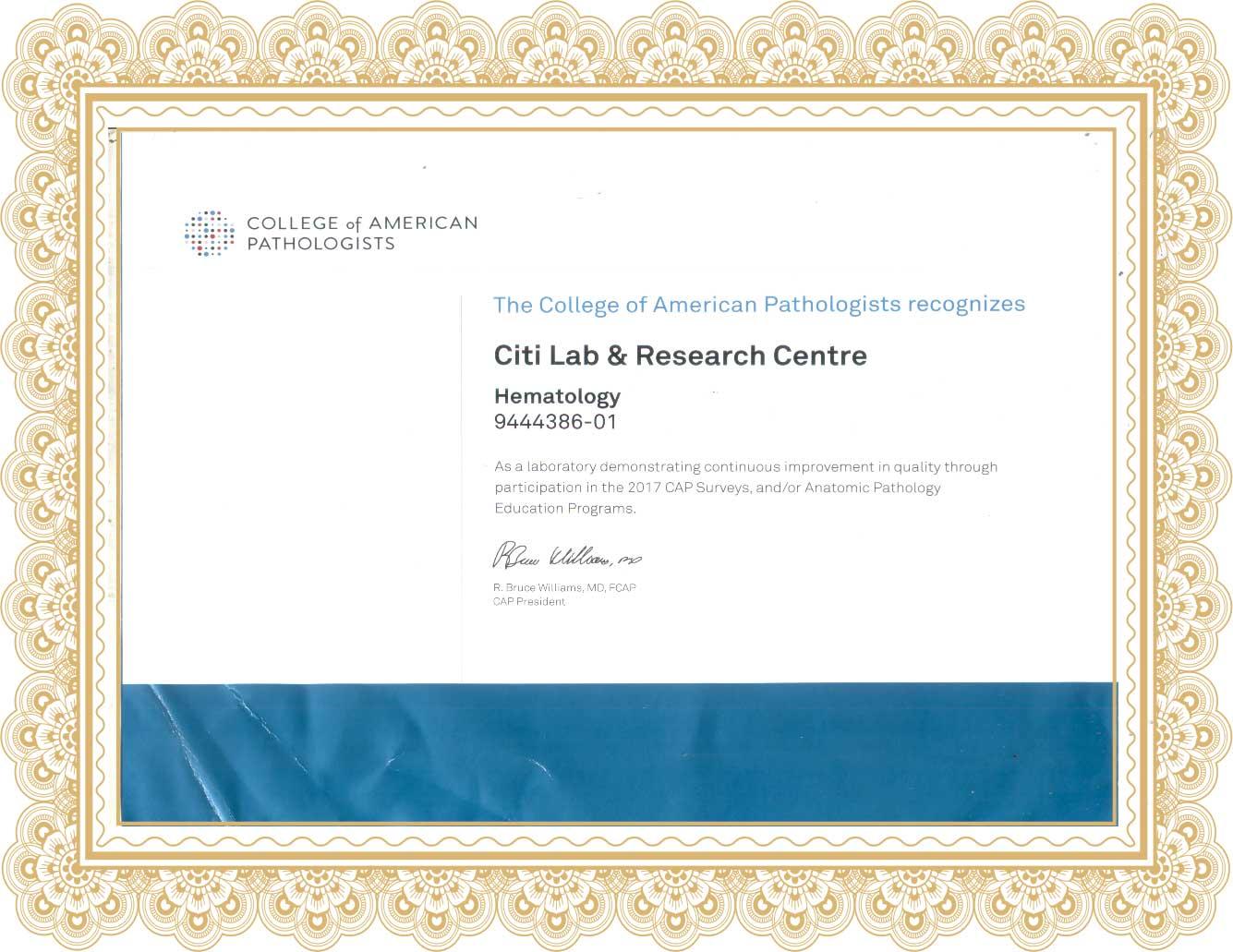 Citi Lab CAP (College of American Pathologist) Certificate