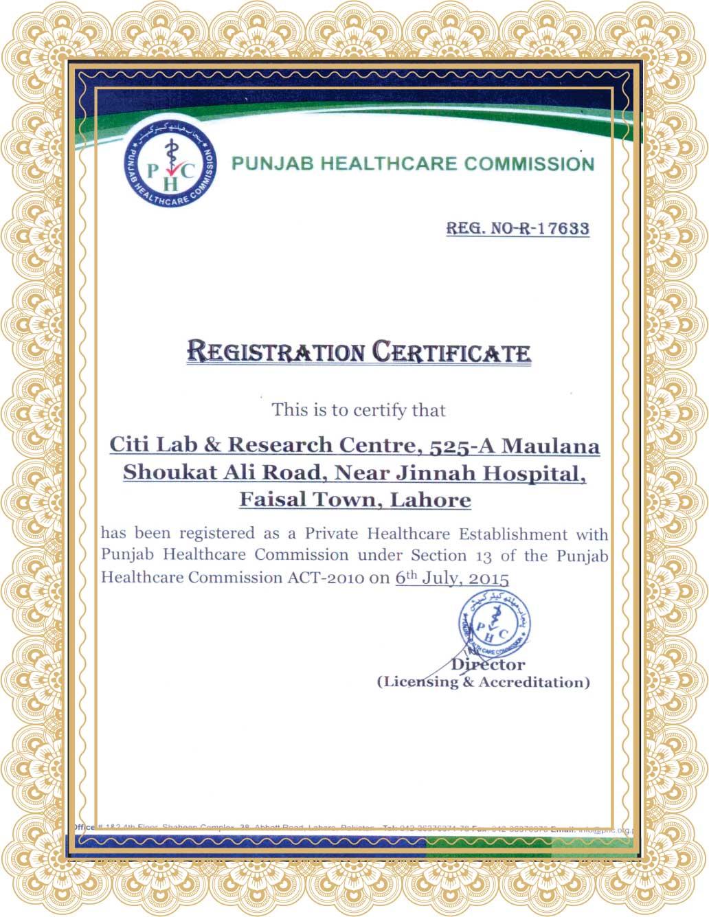Citi Lab PHC Certificate
