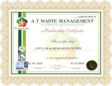 Citi Lab A.T Waste Certificate